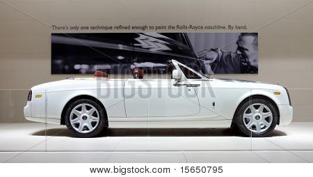 PARIS, FRANCE - SEPTEMBER 30: Rolls Royce Phantom Drophead Coupe at Paris Motor Show on September 30, 2010 in Paris