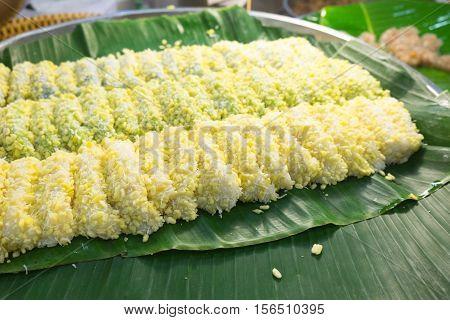 Mung bean rice - crepe on banana leaves. Dessert thailand.