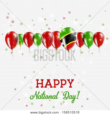 Saint Kitts And Nevis Independence Day Sparkling Patriotic Poster. Happy Independence Day Card With