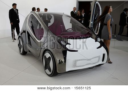 PARIS, FRANCE - SEPTEMBER 30: Paris Motor Show on September 30, 2010 in Paris, showing Kia Electric Pop Concept, front view