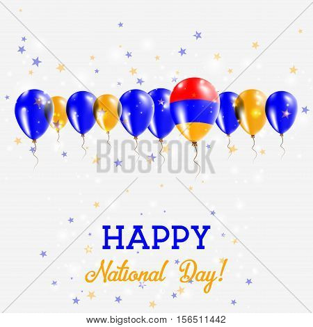 Armenia Independence Day Sparkling Patriotic Poster. Happy Independence Day Card With Armenia Flags,