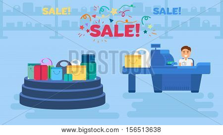 Store with sale showcase and cashier near cash desk. Store or market retail interior. Shopping concept illustration. Storefront podium banner. Vector