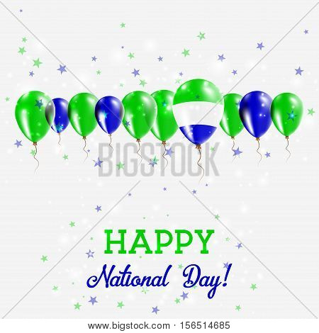 Sierra Leone Independence Day Sparkling Patriotic Poster. Happy Independence Day Card With Sierra Le