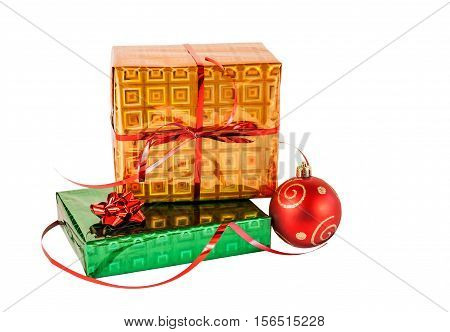 Gift boxes and christmas ball isolated on white background