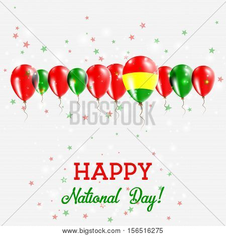 Bolivia Independence Day Sparkling Patriotic Poster. Happy Independence Day Card With Bolivia Flags,