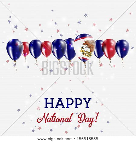 American Samoa Independence Day Sparkling Patriotic Poster. Happy Independence Day Card With America