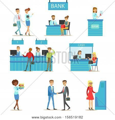 Bank Service Professionals And Clients Different Financial Affairs Consultancy, ATM Cash Manipulation And Other Business Collection Of Illustrations. Smiling People In Bank Interiors Managing Their Finances With Professional Help From Office Employees Vec