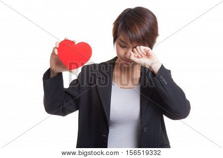 Asian Business Woman Sad And Cry With Red Heart.