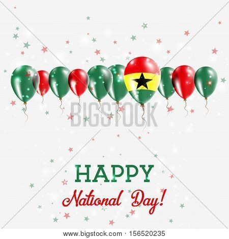 Ghana Independence Day Sparkling Patriotic Poster. Happy Independence Day Card With Ghana Flags, Con