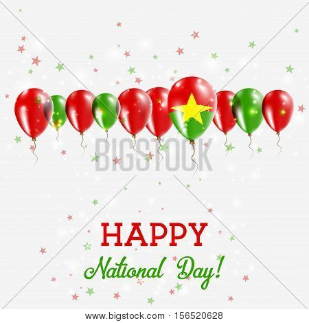 Burkina Faso Independence Day Sparkling Patriotic Poster. Happy Independence Day Card With Burkina F
