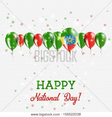 Ethiopia Independence Day Sparkling Patriotic Poster. Happy Independence Day Card With Ethiopia Flag