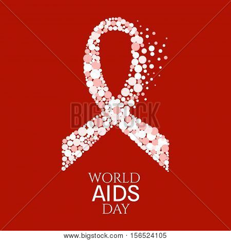 AIDS awareness poster. World AIDS Day symbol. White ribbon made of dots on red background. Medical concept. Vector illustration.