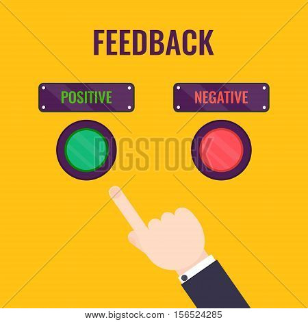 Male hand pointing to positive review button. Customer feedback design template. Rating evaluation vector symbol. Reviews and feedback concept.
