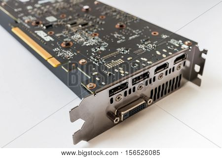 Modern Computer Pci Videocard On White Background.