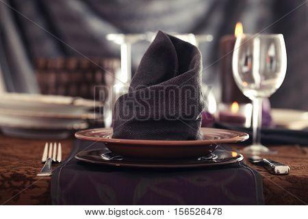 Table setting for dinner. Elegant place setting for restaurant. Wedding or Valentines dinner.