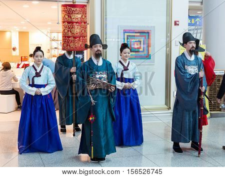March 8 2016: South Korea International Airport Incheon . Korean national live performance in traditional cultural experience center located in the passenger terminal. Historical costume parade of the royal family of the Joseon Dynasty in escort. Preservi