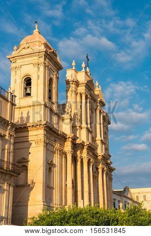 The beautiful baroque cathedral of Noto in Sicily, Italy, in the evening sun