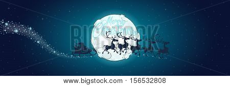 Merry Christmas and Happy New Year wide narrow banner. Santa Claus in sledge with his reindeers in sky. Full cartoon moon. Text slogan. Great for greeting cards postcards gifts and backgrounds
