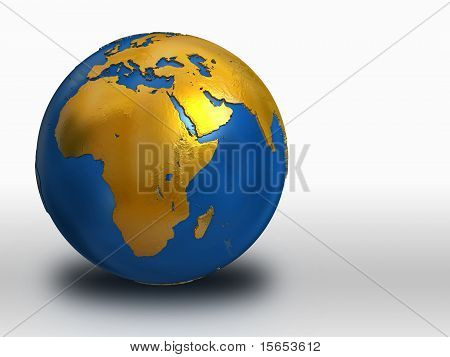 Blue And Gold Earth - Africa, Middle East, Europe