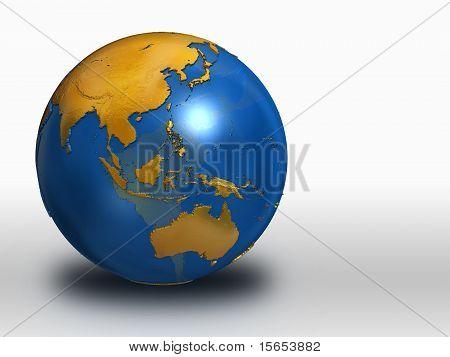 Blue And Gold Earth - Asia, Russia, Australia