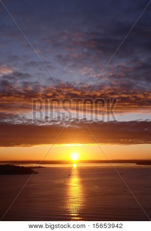 The sun sets over Puget Sound