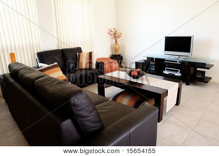 Modern orange and brown interior with home entertainment system