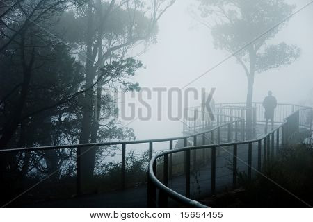 Severe fog at a mountain lookout