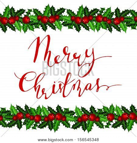 Christmas decoration on white holly with ribbons with handwritten Merry Christmas Vector