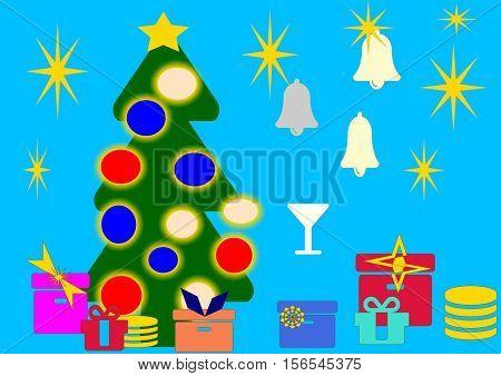 atmosfera natalizia con albero decorato e doni