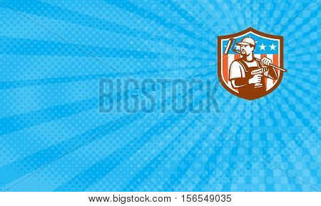 Business card showing Illustration of a handyman with beard moustache facial hair holding paint roller on shoulder and cordless drill looking to the side set inside shield crest with usa flag stars and stripes done in retro style.