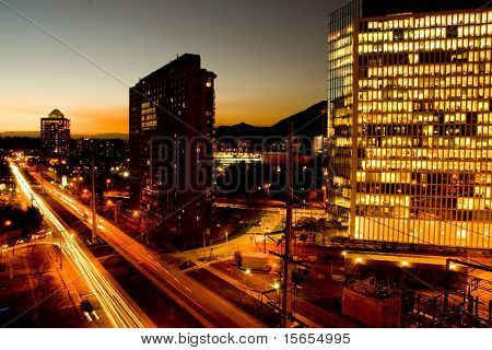 Peak hour traffic at sunset
