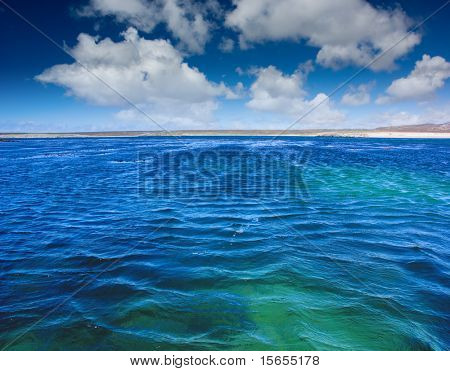 Beautiful Blue waters in the Falkland Islands