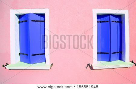 Two Windows Closed In Colorful House On The Island Of Burano Nea
