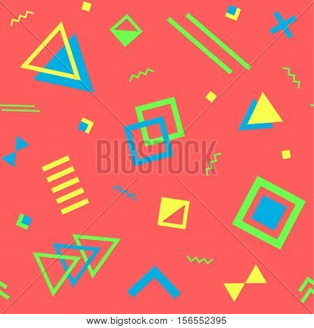 Seamless geometric vintage pattern in retro 80s style on the red background. Memphis style. Can be used in textiles fashion clothes paper print and website backdrop.