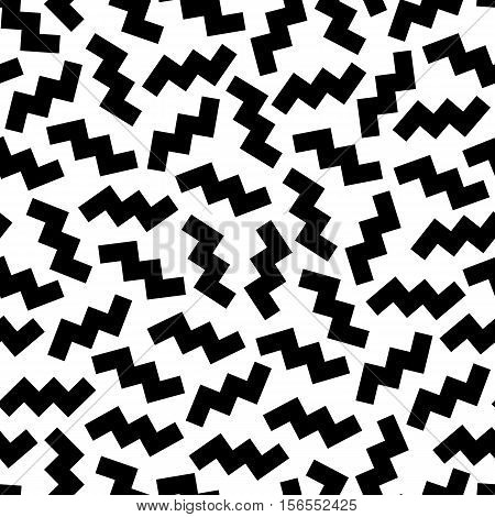 Seamless geometric vintage pattern in retro 80's style on the white background. Random scattered zigzag. Memphis style. Can be used in textiles fashion clothes paper print and website backdrop.