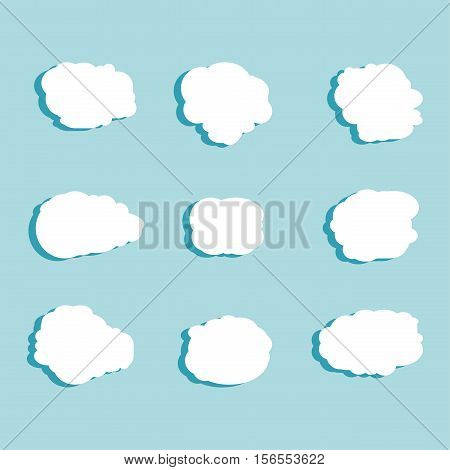 Set Of White Sky, Clouds. Cloud Icon, Cloud Shape. Set Of Different Clouds. Collection Of Cloud Icon