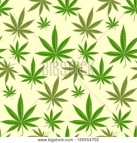 Green marijuana background vector illustration. marihuana background leaf pattern repeat seamless repeats. Marijuana leaf background herb narcotic textile pattern. Different vector patterns.