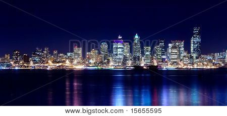 Seattle city lights up the night sky