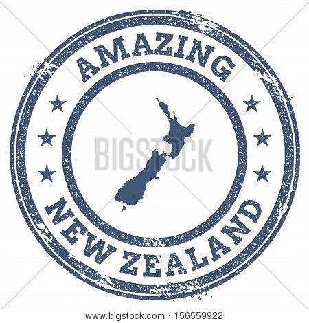 Vintage Amazing New Zealand Travel Stamp With Map Outline. New Zealand Travel Grunge Round Sticker.