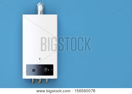 Home gas boiler water heater. 3D rendering isolated on blue background