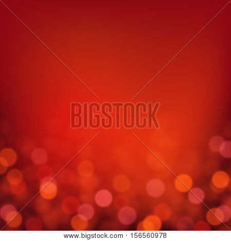 Vector bokeh background. Festive defocused red lights. Abstract blurred illustration.