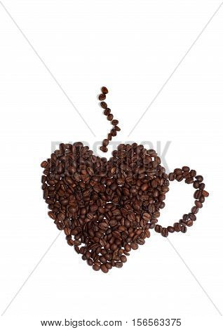 Still Life of a Heart Shaped Cup Made of Coffee Beans on a White Background