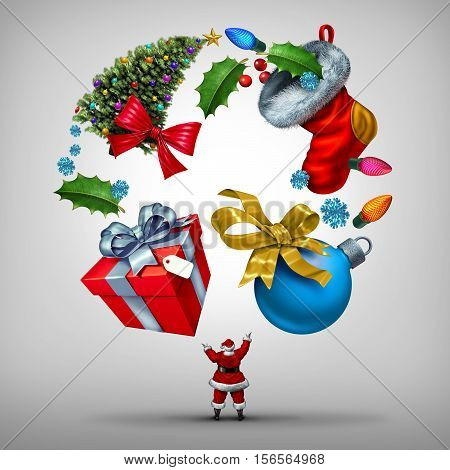 Christmas holiday planning and organizing new year celebrations as santa clause juggling a group of yuletide items as a gift and tree with winter festive objects as lights and xmas decorations with 3D illustration elements.