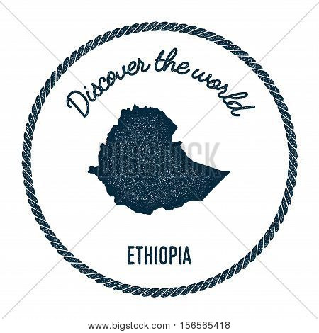 Vintage Discover The World Rubber Stamp With Ethiopia Map. Hipster Style Nautical Postage Stamp, Wit