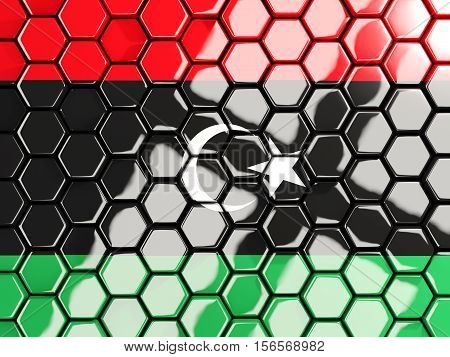 Flag Of Libya, Hexagon Mosaic Background