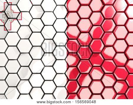 Flag Of Malta, Hexagon Mosaic Background