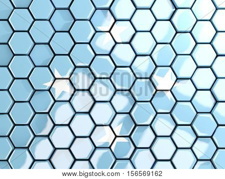 Flag Of Micronesia, Hexagon Mosaic Background