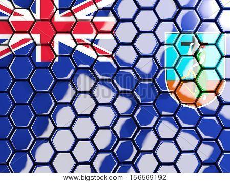 Flag Of Montserrat, Hexagon Mosaic Background