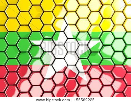 Flag Of Myanmar, Hexagon Mosaic Background