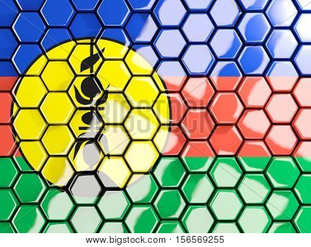 Flag Of New Caledonia, Hexagon Mosaic Background